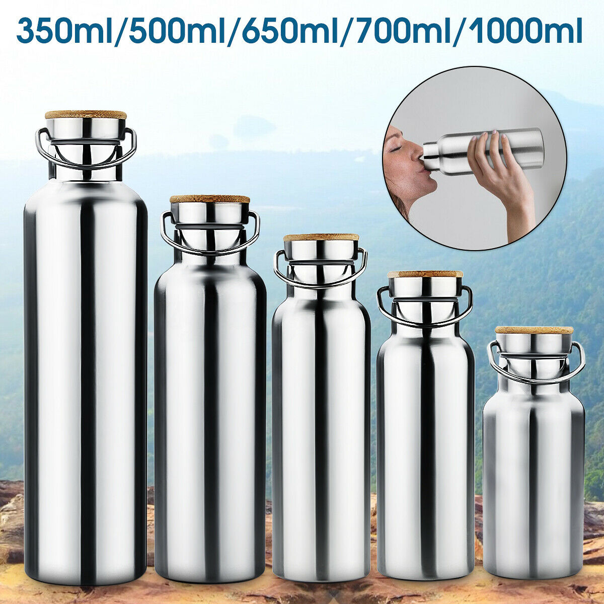 350-1000ml Stainless Steel Vacuum Insulated Water Bottle Double Wall Thermos