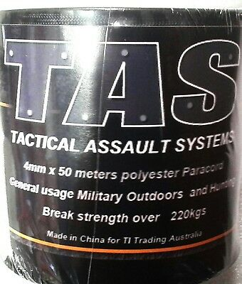 T.A.S PARACORD BLACK 4MM X 50M ROLL 225KG RATING
