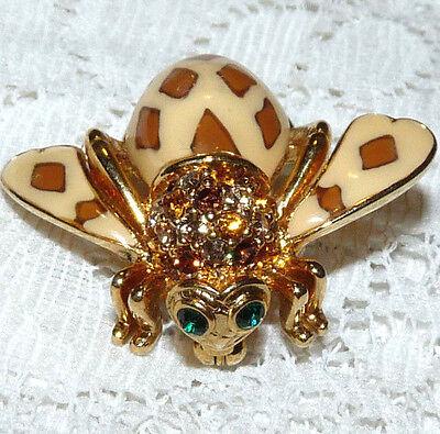 JOAN RIVERS Joan of the Jungle Enamel Amber Crystal Bumble Bee Brooch/Pin  BB60