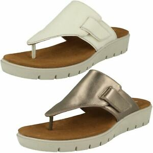 2e5ab13263b2 LADIES CLARKS UN KARELY SEA UNSTRUCTURED SLIP ON TOE POST LEATHER ...