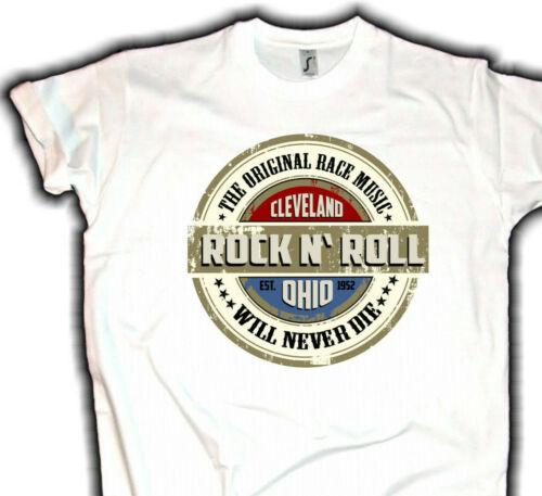 Cleveland Rocknroll T-shirt hommes Hot Rod US CAR OLD SCHOOL v8 Biker Rockabilly