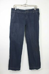 Mossimo Supply Co Womens Pin Striped Low Rise Pants Relaxed Fit Navy Blue Size 7
