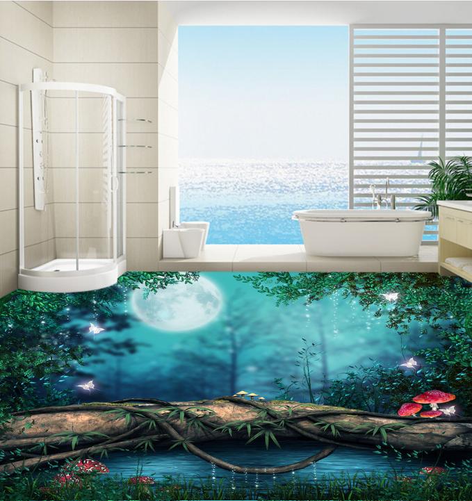 3D Dream Forest Moon 73 Floor WallPaper Murals Wall Print Decal 5D AU Lemon