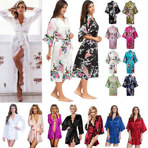 321b5250e5 Women Silk Satin Robes Bridal Wedding Bridesmaid Bride Dressing Gown ...