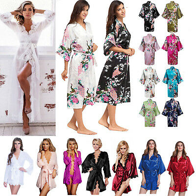 LADIES LONG SATIN FLORAL LACE DRESSING GOWN WOMENS NIGHTWEAR PLUS SIZE 14-18