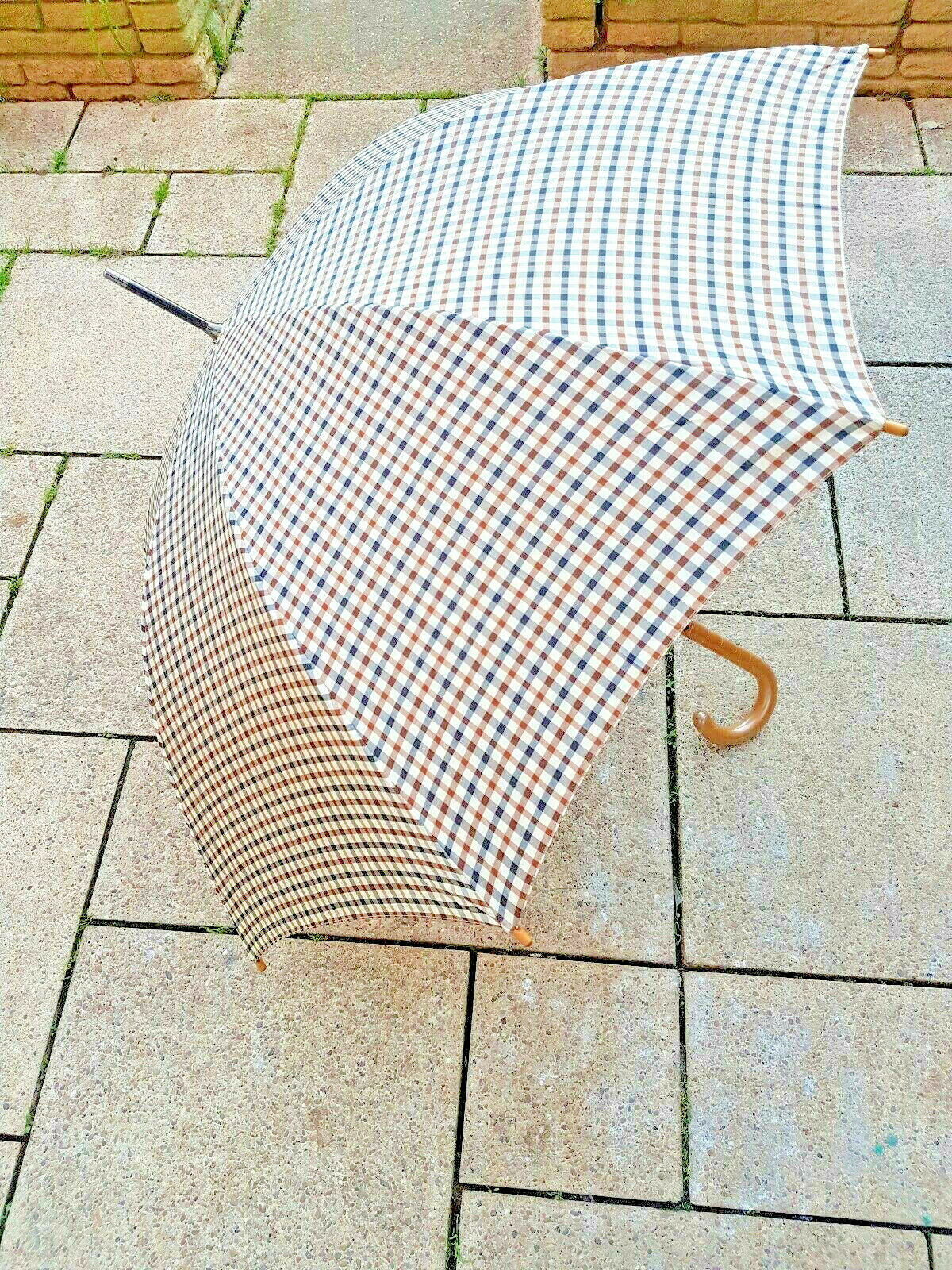 <<SEE VIDEO>> Retro CLASSIC CANES-Smoked Tartan Kanopy Umbrella With Cover NEW