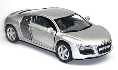 Audi R8 Sportwagen Sammlermodell 1:36 silber metallic Neuware von KINSMART NEU