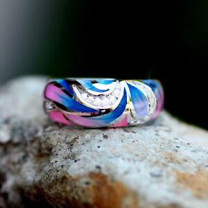 Pink-Blue-Swirl-Enamel-Band-Sterling-Silver-925-Cubic-Zirconias-Plique-A-Jour