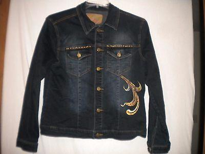 Sassy Thai Size Medium Embellished Dark Wash Womens Denim Jean Jacket