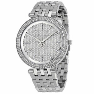 NEW Michael Kors MK3437 Darci Pave Silver Tone Ladies Wrist Watch
