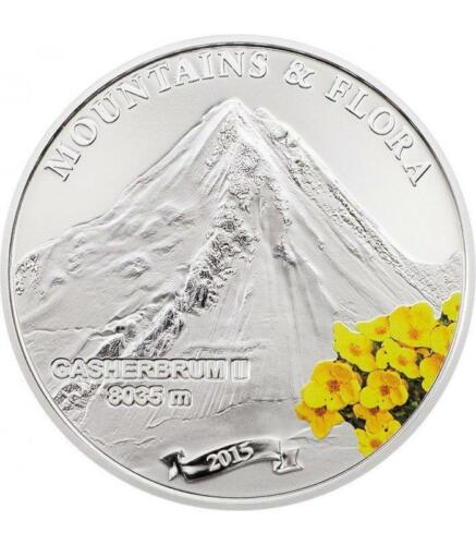 Palau 2015 $5 Mountains /& Flora GASHERBRUM II 20 g Proof Silver Coin