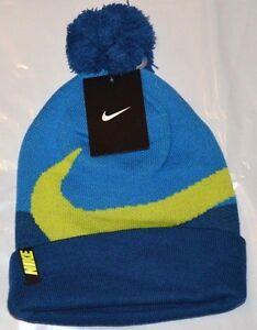 Nike Beanie Winter Pom Hat - Boy s Gym Blue Size 8 -20 New ... b1c4e7b9427f
