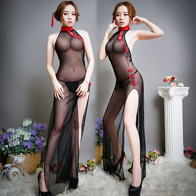 Sexy Sheer Chinese Style Vintage dress Qi Pao Cheongsam Lingerie With G-String