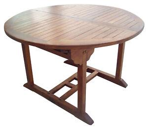 Détails sur Table Ronde en Jaune Balau Décor de Jardin et Extérieur cm  120-160x74h