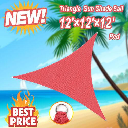 12/' X12/' X12/' Garden Patio Outdoor Triangle Sun Shade Sail UV Block Red