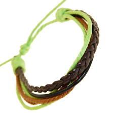 Mens Dark Brown & Black Leather Strap Surf Brown Green Cord Wristband Bracelet