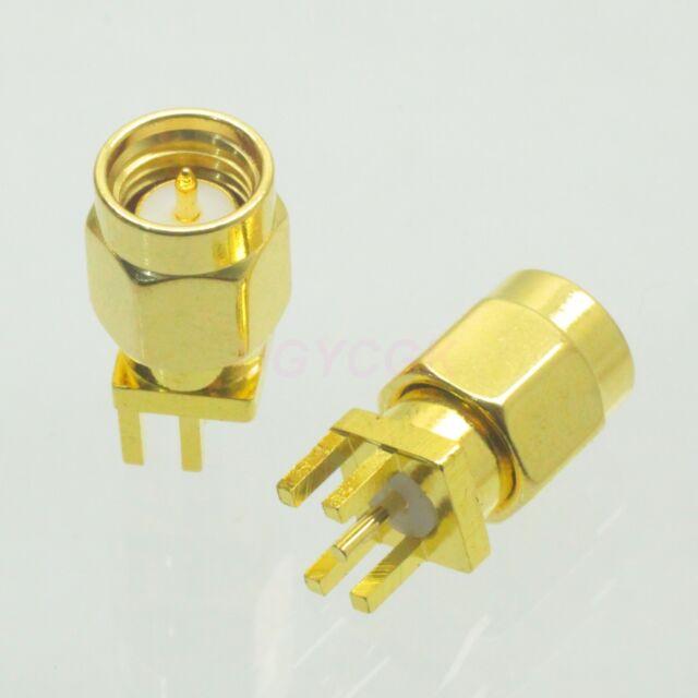 2pcs connector SMA male plug solder PCB clip edge mount straight M