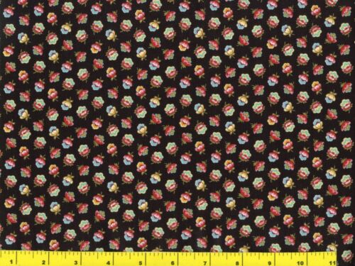 Small Red Green Gold Blue Victorian Flower Buds Quilting Fabric by Yard  #516