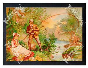 Historic-J-amp-P-Coats-039-Spool-Cotton-Fishing-Advertising-Postcard