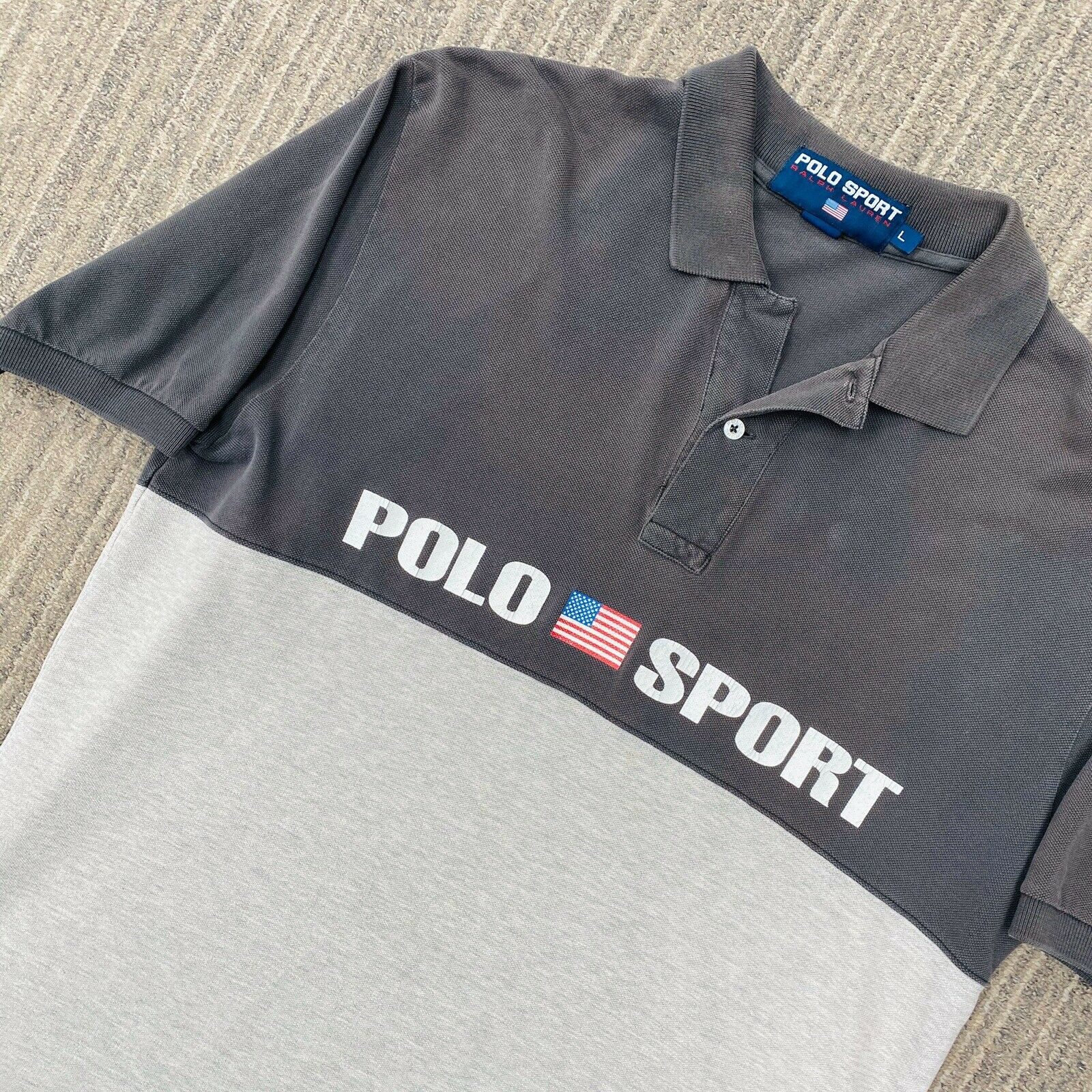 Vintage Polo Sport Spellout Shirt Size Large USA … - image 1