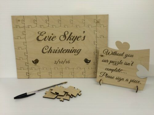 Personalised christening bird wooden jigsaw guest book puzzle keepsake gift