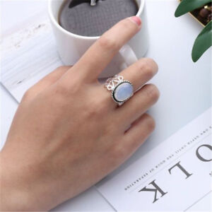 Women-Rainbow-Moonstone-Ring-Oval-Sterling-Silver-Natural-Gemstone-Jewelry