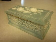 Vintage Avondale Crush Glass Roses Incolay Texture US Jewelry Trinket Box Casket