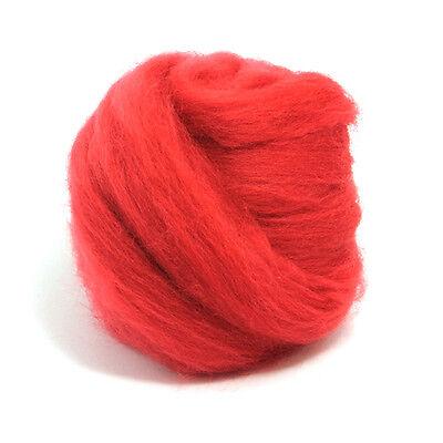 tops 50g wet felting needle felting Red Merino Wool dyed fibre roving