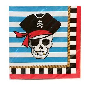 pirate napkins ahoy matey party pirates of the Caribbean themed party nautical party supplies Pirate Skull Beverage Napkins 16ct