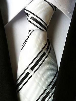 (nt022) A Righe Bianco Nero Tartan Uomini Cravatta Matrimonio Festa Ufficio Business Tie-