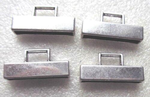 4pcs Silver Rectangle End Caps 30 x 8mm Item; 11421