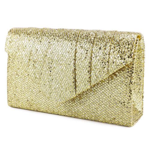 Gold Abendtasche Kettentasche Brauttasche Clutch mit Kette Hochzeit Party
