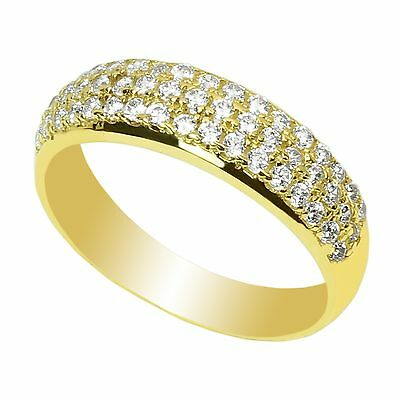 Ladies  Yellow Gold Plated Fashion Solitaire Ring with Accents CZ Clear Stone