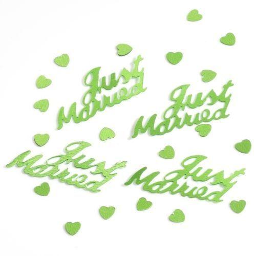 pa 6 x vert pomme Just Married 14g feuille confettis de table scatter decorations