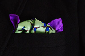 BNWT-Fashion-Necessity-Silk-Paisley-Pocket-Square-Handkerchief-Green-Purple