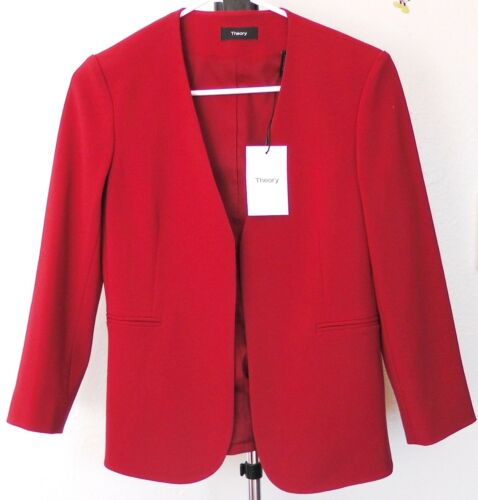 42% OFFNWT Theory Lindrayia Admiral Jacket Blazer, Red Oak, sz 2, MSRP $395
