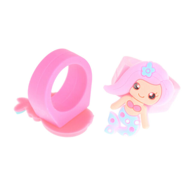 5Pcs PVC Rubber Cartoon Mermaid Princess Kids Rings Children Silicone Rings TFSU