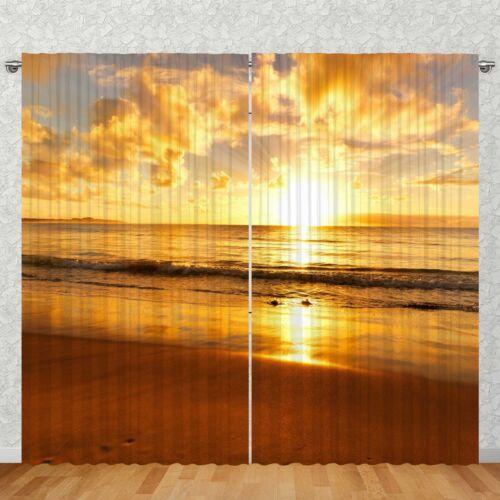 """Vorhang 2-teilig 270x245cm /""""Strand Sonnenunterg./"""" Fotovorhang Motiv Digitaldruck"""