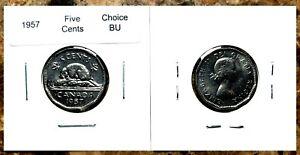 Canada-1957-Five-Cents-Nickel-UNC-Choice-BU