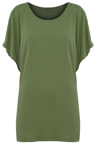 Womens Plain Batwing Sleeve Oversizes Round Neck Baggy Top T Shirt