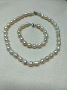 Natural FRESHWATER Rice PEARL Cream White Choker Necklace and Bracelet Set A