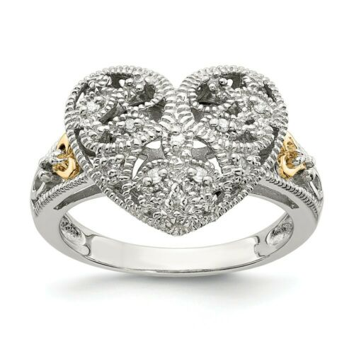 Details about  /Diamond Vintage Ring Sterling Silver 14K Gold Accent 0.05 Ct Sz 6-8 Shey Couture