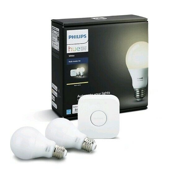 PhilipsHue Warm White 2700K A19 Starter Kit with 2 Bulbs and Hue Bridge -...