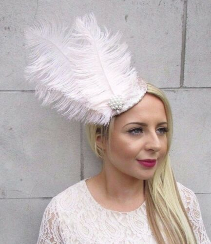 Champagne Cream Sequin Feather Fascinator Pillbox Hat Races Wedding Vintage 3727
