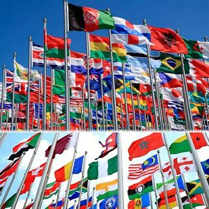 WORLD FLAGS 5FT X 3FT NATIONAL COUNTRY FLAG SPORT RUGBY FOOTBALL WORLD CUP DECOR