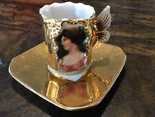 Vintage Handpainted Gold Portrait Demitasse Cup And Saucer Set Meissen Germany