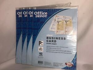 Office Depot Business Card Binder Pages 8 12 X 11 Clear 4 Packs