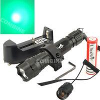 Tactical Led Flashlight Ultrafire 501b 2000lm Green 20mm Mount Hunting Light