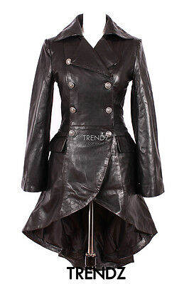 Ladies ENVY BLACK (3492) New Gothic Victorian Lambskin Leather Trench Flare Coat