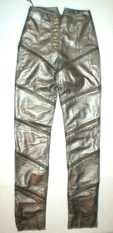 NWT Womens 2 Bronze Brown Leather Pants Zippers Tall Designer Malandrino